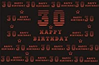 新しい7x5ftハッピー30歳の誕生日の背景バナー男性女性大人30歳Bdayお祝いスター単語雲パターン黒赤背景ポスター壁紙写真スタジオ小道具ビニール