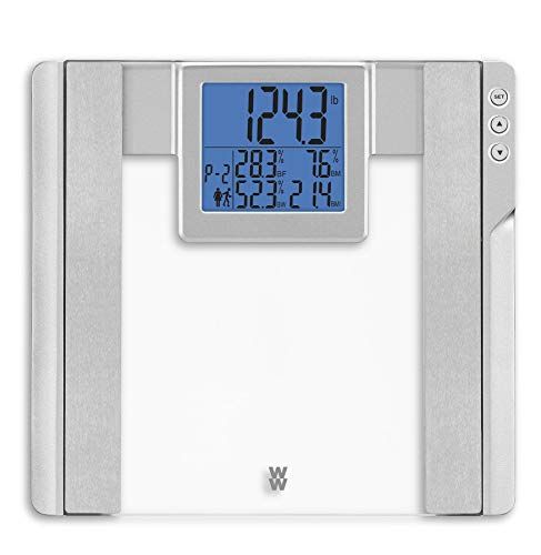 WW Scales by Conair Body Analysis Glass Bathroom ScaleMeasures Body Fat Body Water Bonemass amp BMI 4 User Memory Measures up to 400 lbs Glass with Silver Accents amp 38quot Blue Backlight LCD Screen