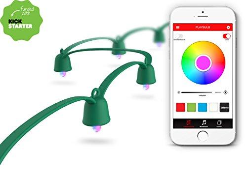 Mipow Playbulb String LED farbwechsel Lichterkette, app gesteuert [Energieklasse A++ bis A] (Grün, 10m Basis-Set)