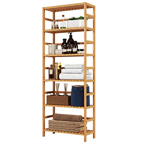 Homfa Bamboo Shelf 6 Tier, 63.4 Inches Height Free Standing Bookshelf Plant Flower Stand Rack Bathroom Storage Tower, Multipurpose Utility Organizer Shelf 100% Nature