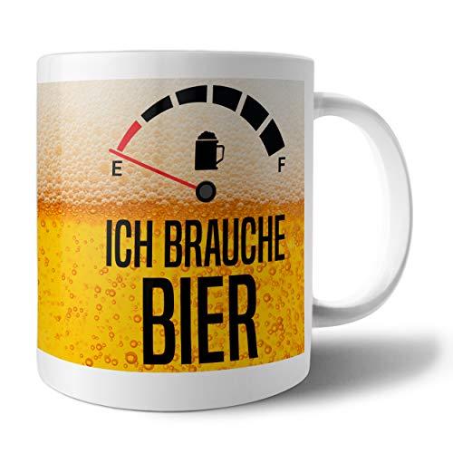 PHRASE 1 by FotoPremio Tasse mit Spruch - Ich Brauche Bier | Kaffeetasse beidseitig Bedruckt | Tasse lustige Sprüche | Geschenkidee für Freunde, Familie oder Lieblingskollegen