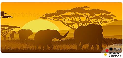 matches21 Küchenläufer Teppichläufer Teppich Läufer wildes Afrika Elefanten 50x120x0,4 cm maschinenwaschbar rutschfest Küchenvorleger