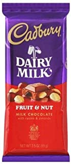 Cadbury Fruit and Nut Milk Chocolate Bar 3.5oz (7-pack)