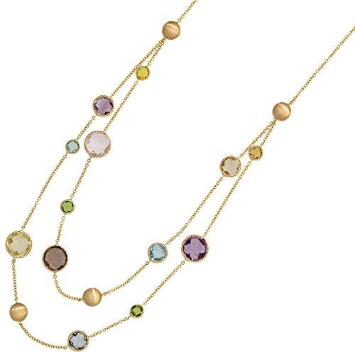 Multicolor Collier Rauchquarz Amethyst Citrin Peridot Quarz 585 Gold 45cm Damen