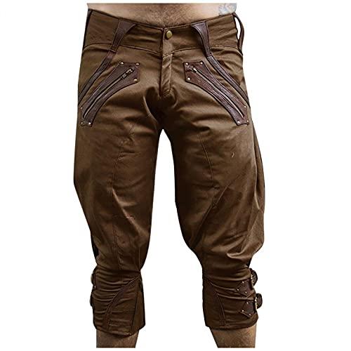 Pantalones de traje regional para hombre, estilo retro, 3/4, pantalones capri, estilo punk, holgados, con hebilla en el tobillo, para rendimiento holgado, hip hop, jogging, cargo, marrón, L
