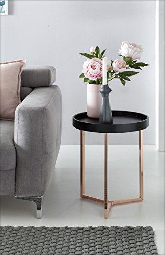 Table d'appoint Design Noir/cuivre ø Bois métal Plateau de Table 40cm | Table Basse Moderne avec Plateau de Table | Ronde Table Basse