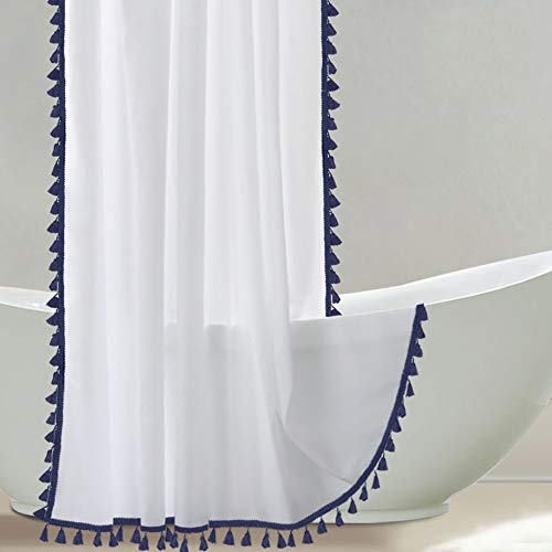 Uphome Tassel Shower Curtain, White Fabric Shower Curtain with Blue Fringe Trims, Vintage Boho Chic Cloth Shower Curtains for Bathroom Showers, 72 x 72