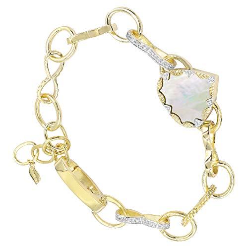 Be Maad Heart and Zircon Link Bracelet (Pearlescent)