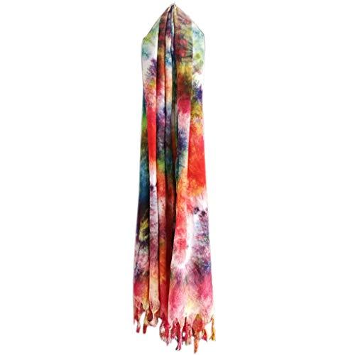 Xu Yuan Jia-Shop Moda Bufanda Chal De Gran tamaño Bufanda del Abrigo de algodón Suave de Las Mujeres y de Lino mantón Tradicional Hecha a Mano Tie-Dye Bufandas de la Vendimia Bufanda acogedora