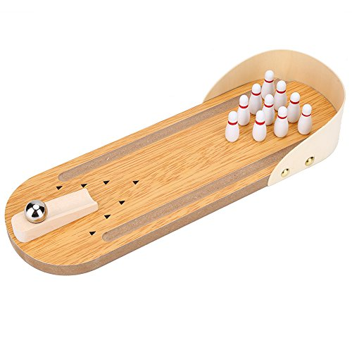 Alomejor Desktop Mini Bowling Game Set Bowling Brettspiel Spielzeug mit Lane Tabletop Bowling Pins und Metallkugel für Kinder und Erwachsene