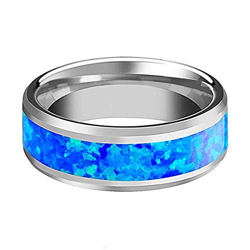 Anillo de compromiso para hombre, color azul, talla 6 a 13