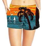 qianfengdamaoyi Women's Beach Board Shorts Beach Theme Seascape with Palm and Sails Swim Trunks Briefs Swimsuit M