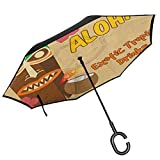 RenteriaDecor Tiki Bar Outdoor Umbrella Polynesian Statue with Tropical Drink Retro Typography and Flora Old Aged Design Umbrella for Car Rain Outdoor with C-Shaped Handle