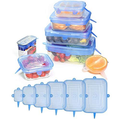 mementoy Juego de 6 tapas elásticas de silicona reutilizables rectangulares, no tóxicas, seguras en lavavajillas, microondas y congelador.
