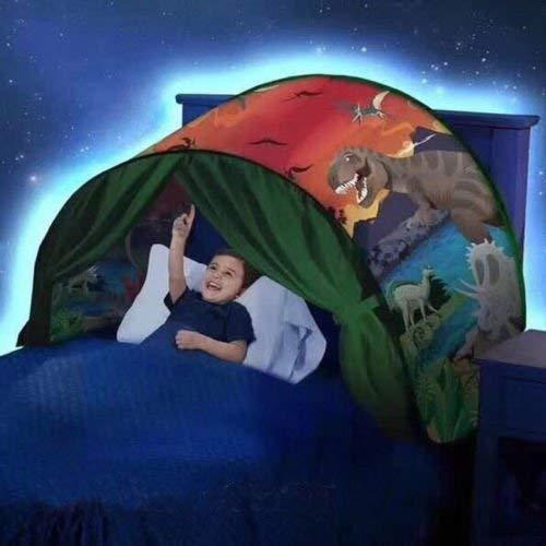 Rodman Carpas Plegables de Bloqueo Ligero Carpas de Cama para Niños con Ligeras Carpas de Invierno Wonders Play Dinosaurio Luminoso