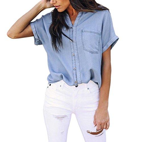 TIFIY Frauen Sommer Lässige Weiche Jeanshemd Tops Blau Jean Knopf Kurzarm Kühlen Urlaub Bluse Jacke Kleidung