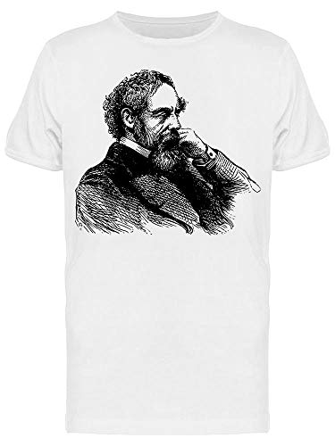 Camiseta masculina Line Drawing Of Charles Dickens, Branco, M