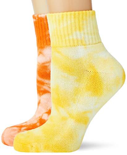 Urban Classics Unisex Tie Dye Short 2-Pack Socken, Orange Yellow, 43-46