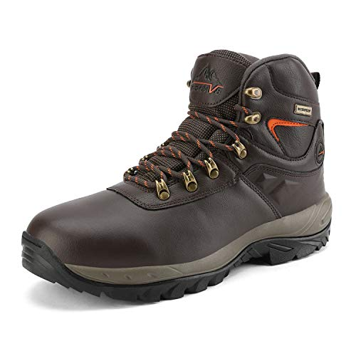 NORTIV 8 Men's Mid Ankle Leather Waterproof Work Boots Outdoor Hiking Boots Brown/Black/Orange Size 10 M US 170412