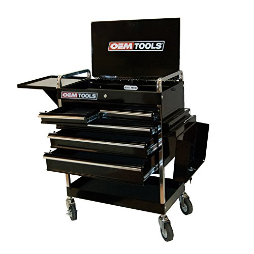 OEMTOOLS 24963 30-Inch 5 Drawer Service Cart, Black, Mechanic Tool Box, Rolling Storage Cabinet, Tool Box with Wheels, Storage for Garage Organization