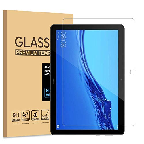 USTIYA Mica para Huawei MediaPad T5 10.1' 2018(AGS2-W09/L09/L03/W19) Screen Protector 2-Pack Transparente Vidrio Cristal Templado de Pantalla