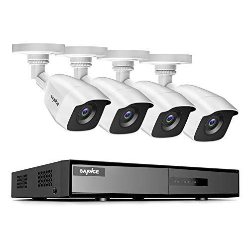 SANNCE Kit de Seguridad 8CH DVR 1080P 5-en-1 sin Disco Duro 4 Cámaras Sistema de Vigilancia 1080P IP66 Impermeable Acceso Remoto-sin HDD