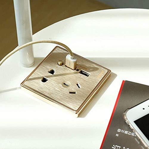 Home Equipment Lámpara de pie con estantes 2 capas Estante de madera Pantalla de luz de piso con puerto USB Lámpara de mesita de noche para dormitorio Sala de estar Habitación de invitados Tocador