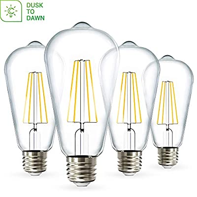 Sunco Lighting 4 Pack ST64 LED Bulb, Dusk-to-Dawn, 7W=60W, 4000K Cool White, Vintage Edison Filament Bulb, 800 LM, E26 Base, Outdoor Decorative String Light - UL, Energy Star