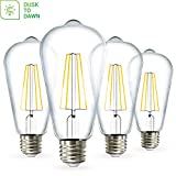 Sunco Lighting 4 Pack ST64 LED Bulb, Dusk-to-Dawn, 7W=60W, 2700K Soft White, Vintage Edison Filament Bulb, 800 LM, E26 Base, Outdoor Decorative String Light - UL, Energy Star