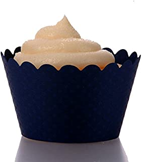 Dress My Cupcake Standard Navy Blue Cupcake Wrappers, Set of 100