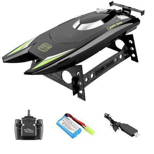 YAMAZA Ferngesteuertes Boot Schnellboot Spielzeug RC High Speed Boot mit 2 Motor für Kinder 30 km / h wasserdichte 2,4 GHz Spielzeugyacht für Pools und Seen 32 * 9,5 * 5,5 cm