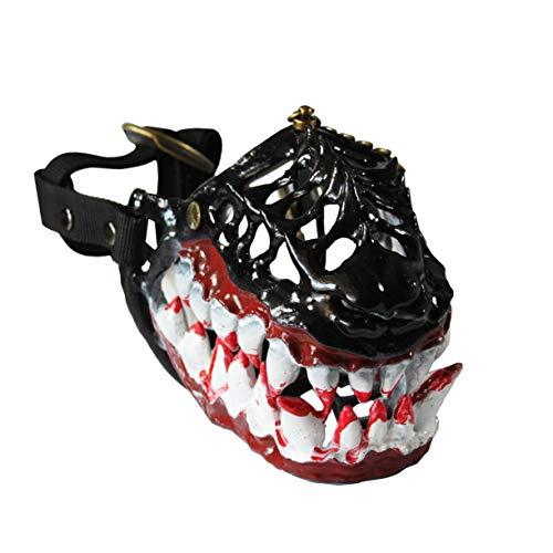 WhaleCreation lustiges Hundekostüm Maulkorb mit großen blutigen Zähnen, verhindert Beißen, Kauen und Bellen, X-Large