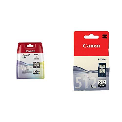 Canon 2970B010AA Cartuchos de tinta BK+Tricolor + PG-512 Cartucho de tinta original Negro (15 ml) para Impresora de Inyeccion de tinta Pixma