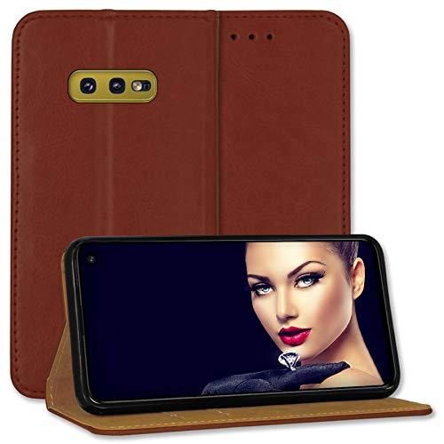 mtb more energy® Leder-Tasche Bookstyle für Samsung Galaxy S10e (SM-G970, 5.8'') - braun - Echtleder - Schutz Hülle Wallet Cover Hülle