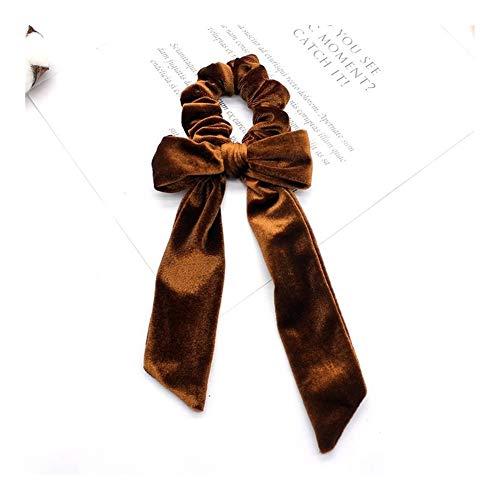 YUNGYE 9 Couleurs Arc Long Banderoles Anneau Cheveux Ruban élastique Fille Bands Cheveux Chouchous Tie Chapeaux Accessoires for Cheveux (Color : Coffe