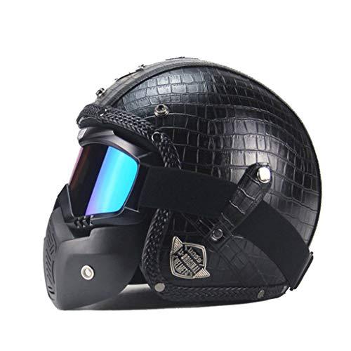 Casque Vintage, casque fait main Vintage moto moto moto électrique 3/4 casque en cuir moitié casque (noir) (taille : L)