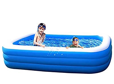 """Amy & Delle Inflatable Kiddie Swimming Pool - Blow Up Family Lounge Above Ground Swim Center Size 59"""" 43"""" 20"""" Perfect for Summer Outdoor Backyard Porch Garden Water PartyAges 3"""