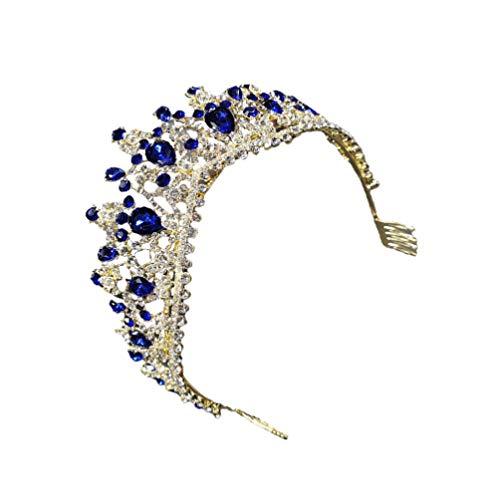 VALICLUD Azul Barroco Rainha de Cristal Da Coroa Da Noiva Do Vintage Da Coroa Da Princesa Tiara De Noiva Coroa Casamento Acessório Vestido de Aniversário