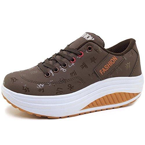 Gaatpot Damen Plateau Sneaker Keilabsatz Wedge Schuhe Leicht Freizeit Sportschuhe Bequem Turnschuhe,Braun,EU39=CN40