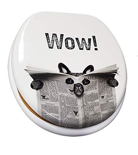 takestop® universele toiletbril met hondenmotief, zwart/wit/donkerblauw ESY_69004