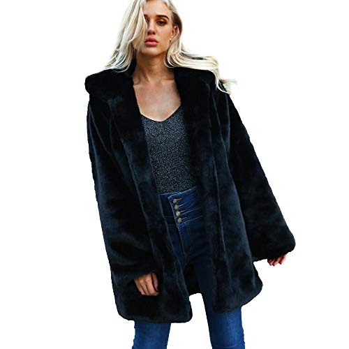 Longra Damen Pelzmantel Fellmantel Faux Fur Kunstpelz Mantel Kunstfell Jacke mit Kapuzen Damen Wintermantel Winterjacke Elegant Wollmantel Fleecemantel Fleecejacke Lang Steppmantel (m, Schwarz)