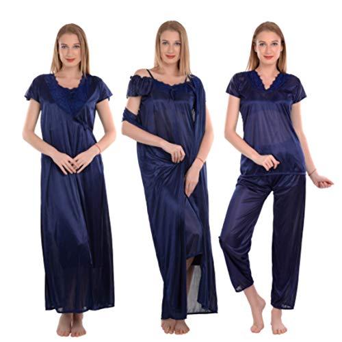 CIERGE Women's Satin Nighty Robe, Top & Night Dress Set...