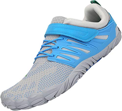 SAGUARO Traillaufschuhe Herren Damen Atmungsaktiv Tragbar Surfschuhe rutschfeste Neoprenschuhe Unisex Erwachsene Tauchschuhe Five Finger Shoes Schutz Barfuß Schuhe Draußen, Water Himmelblau 40