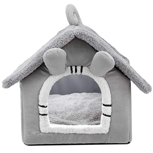 XIDISQI Katzenhöhle Katzenhaus, Faltbar Waschbare Kuschelhöhle für Katzen und Hunde, 53cm x 46cm x 43cm - Grau