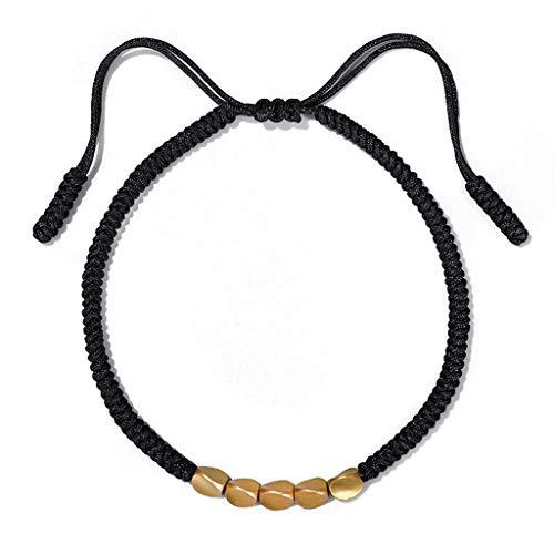 lijun Handmade Buddhist Braided Cotton Luck Rope Bracelet Tibetan Copper Bead Bracelet