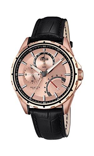 para Hombre de Loto de Oro Rosa y Cristales Reloj Infantil de Cuarzo con Esfera analógica y Negro Correa de Piel 18209/1