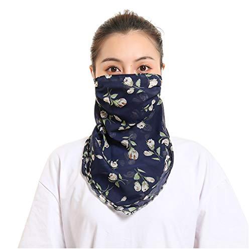 TIREOW Frauen Mädchen Mode Winddichter UV-Schutz Chiffon Halstuch Schutzschal Atmungsaktiv Halswärmer Schlauchschal Halstuch Für Radfahren Camping Laufen (P 1)