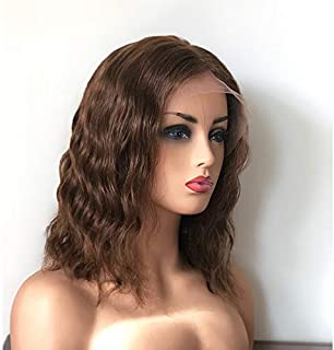 Zhangxiuzhu Wig Cheap Short Wavy Human Hair Lace Front Wig Brazilian Hair Glueless Short Loose Wave Wigs With Baby Hair Bleached Knots (8inch #4 Color/Lace Front Wig)