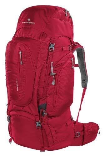 Sac à dos de randonnée Transalp 80 litres, couleur rouge, marque Ferrino, dos réglable en hauteur, idéal pour randonnée, voyage, aventure