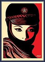 ポスター オベイ Mujer Fatale/Shepard Fairey 手書きサイン入り 額装品 ウッドベーシックフレーム(ブルー)